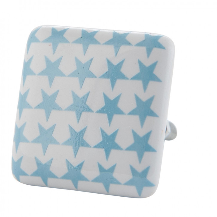 Möbelknopf Knauf Griff Sterne blau ca. 3,5 x 3,5 cm