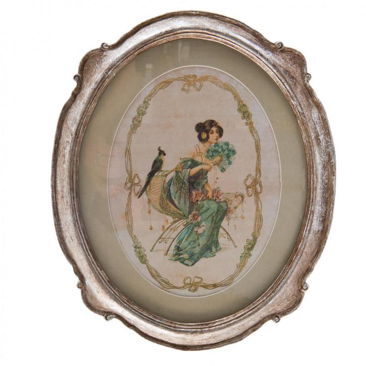 Gemälde Frau Papagei Rahmen silberfarbig ca. 24 x 1 x 29 cm