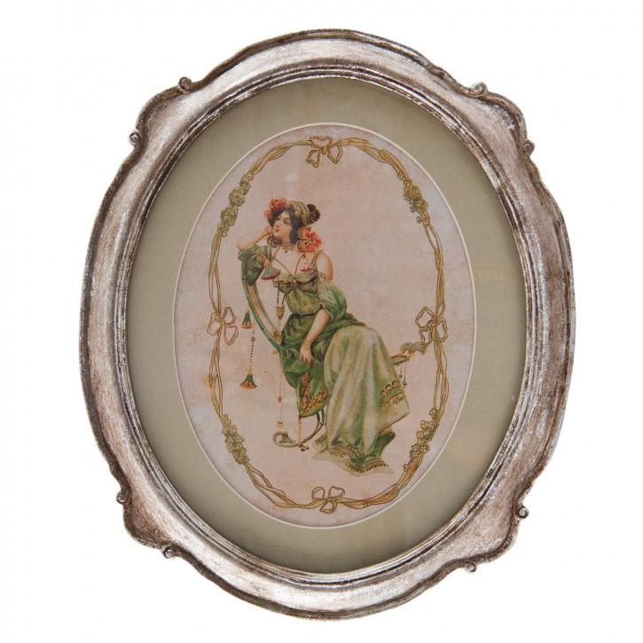 Gemälde Frau Rahmen silberfarbig ca. 24 x 1 x 29 cm