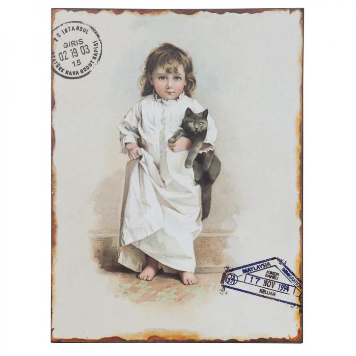 Blechschild Kind Katze ca. 25 x 1 x 33 cm