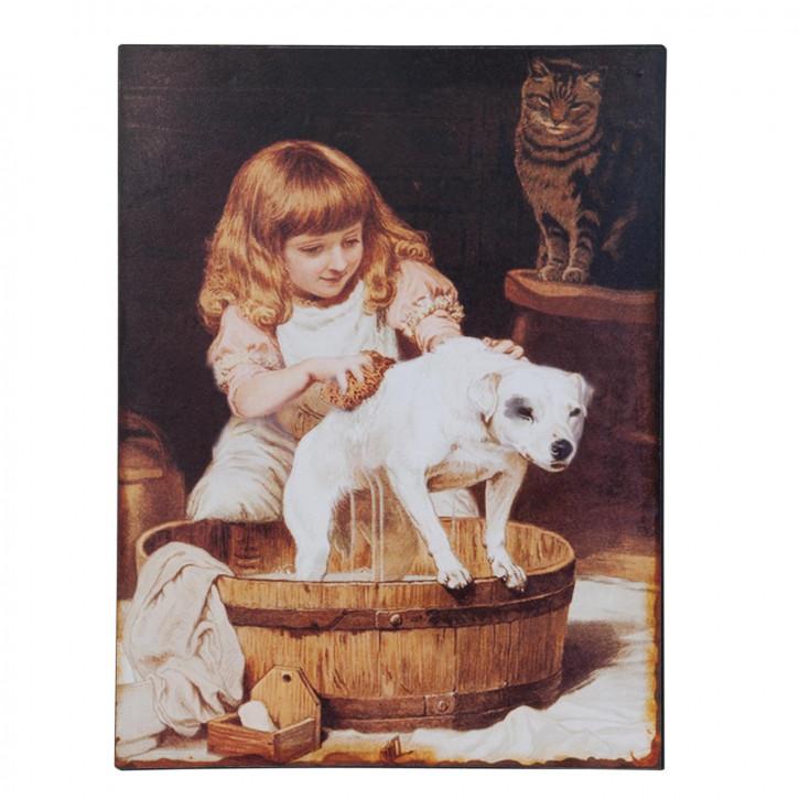 Blechschild Mädchen Hund Katze ca. 25 x 1 x 33 cm