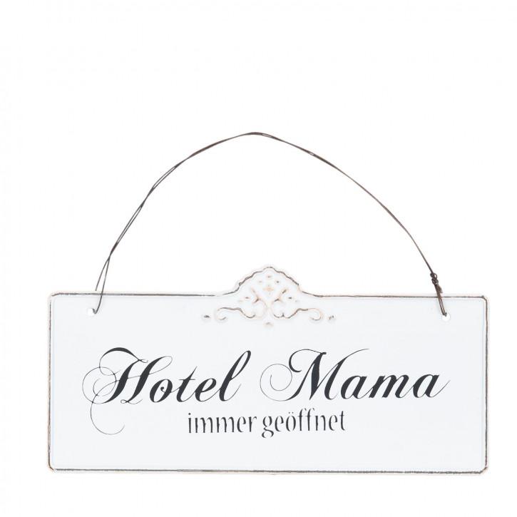 Wandschild Blechschild Hotel Mama immer geöffnet ca. 21 x 10 cm