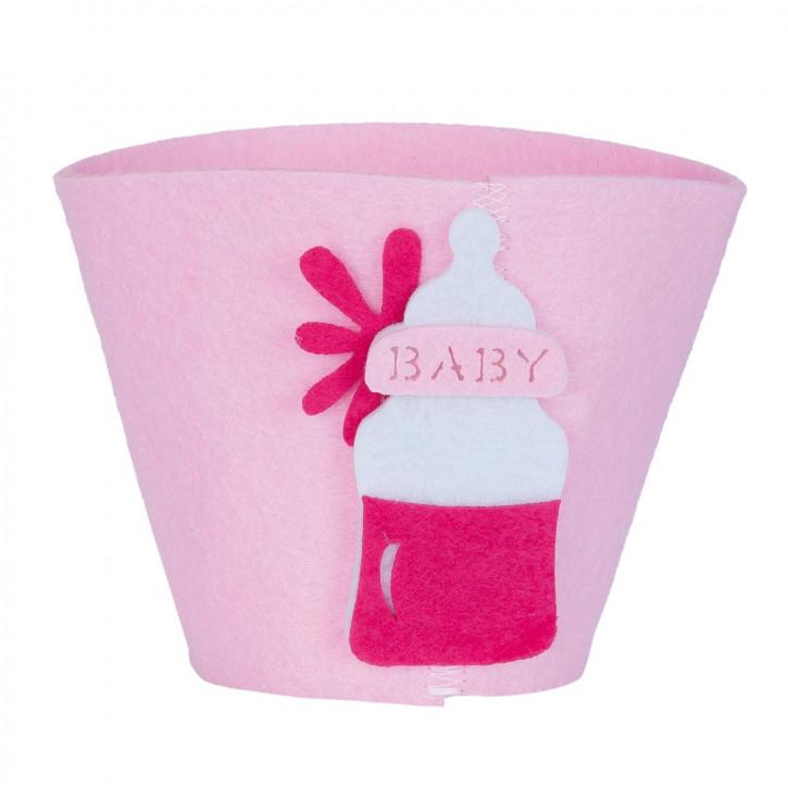 Filzkorb Baby rosa ca. Ø 8 x 10 cm