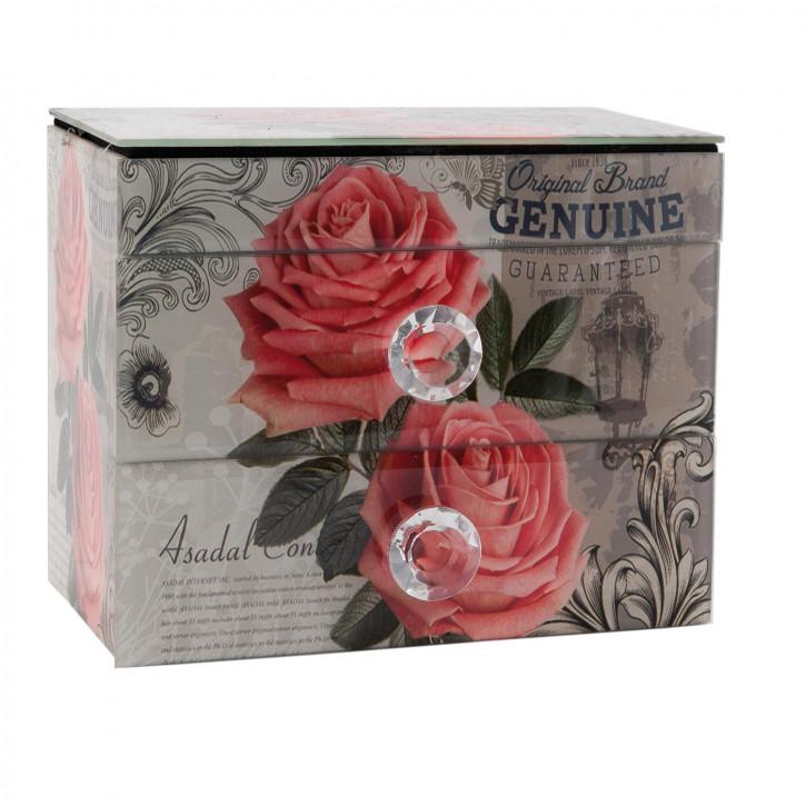 Schubladenbox Rosen ca. 21 x 13 x 17 cm