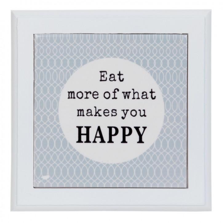 Untersetzer Eat more of what makes you HAPPY grau ca. 20 x 20 cm