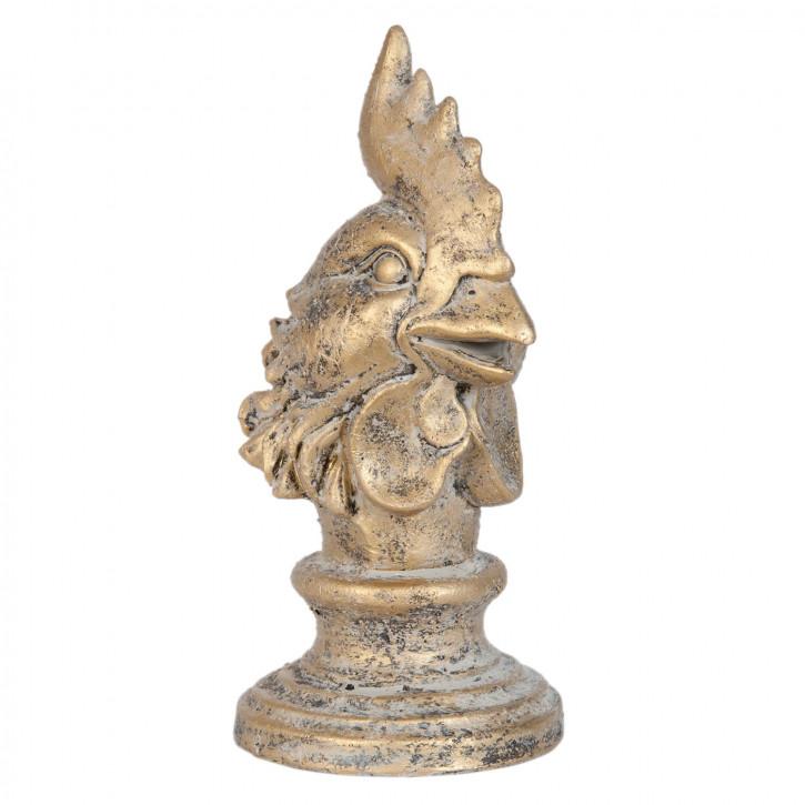 Gockel Kopf goldfarbig ca. 11 x 10 x 20 cm