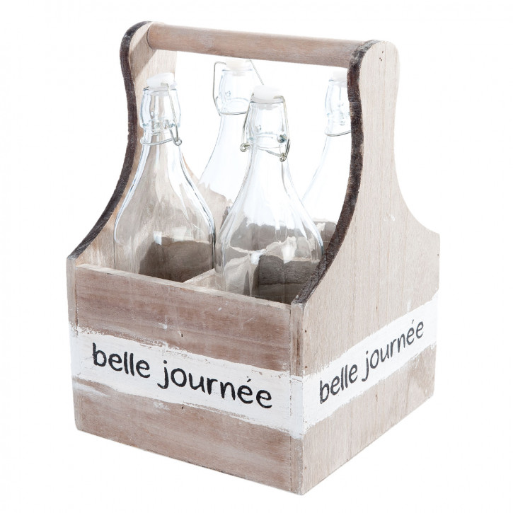Basket with 4 bottles 24x24x35 cm