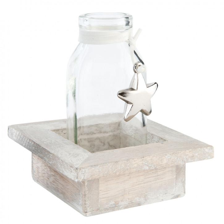 Bottle in wooden holder 9x9x10 cm