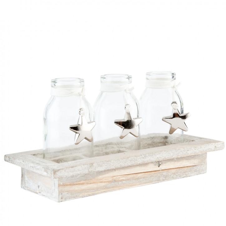 3 Bottles in wooden holder 18x7x10 cm
