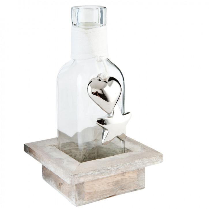 Bottle in wooden holder 9x9x15 cm
