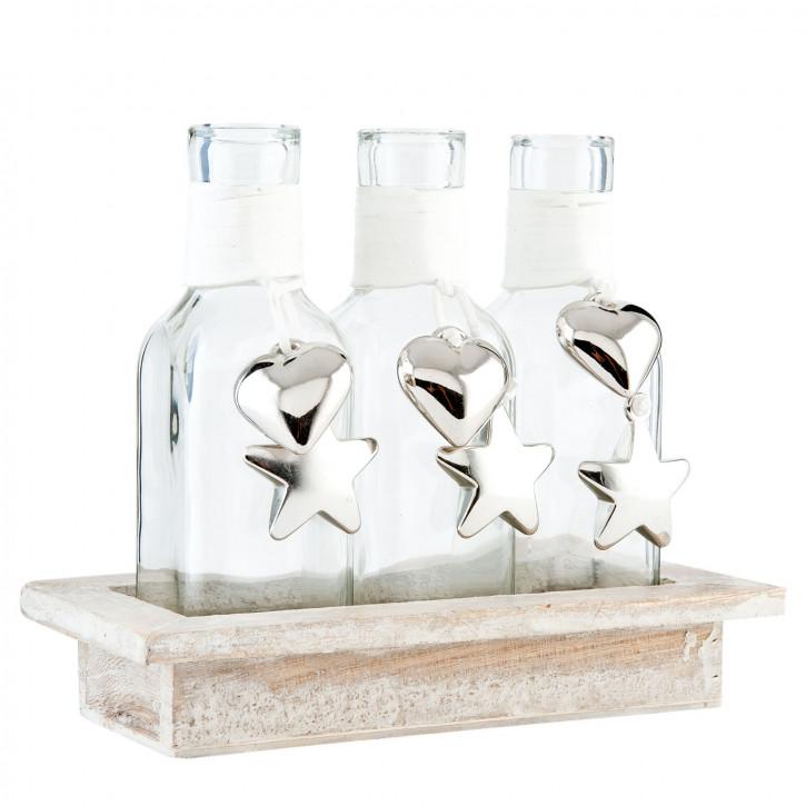 3 Bottles in wooden holder 19x9x15 cm