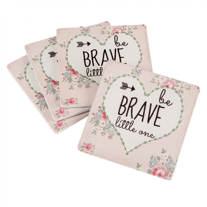 "Untersetzer Set ""Be Brave"" (4) 10x10 cm"
