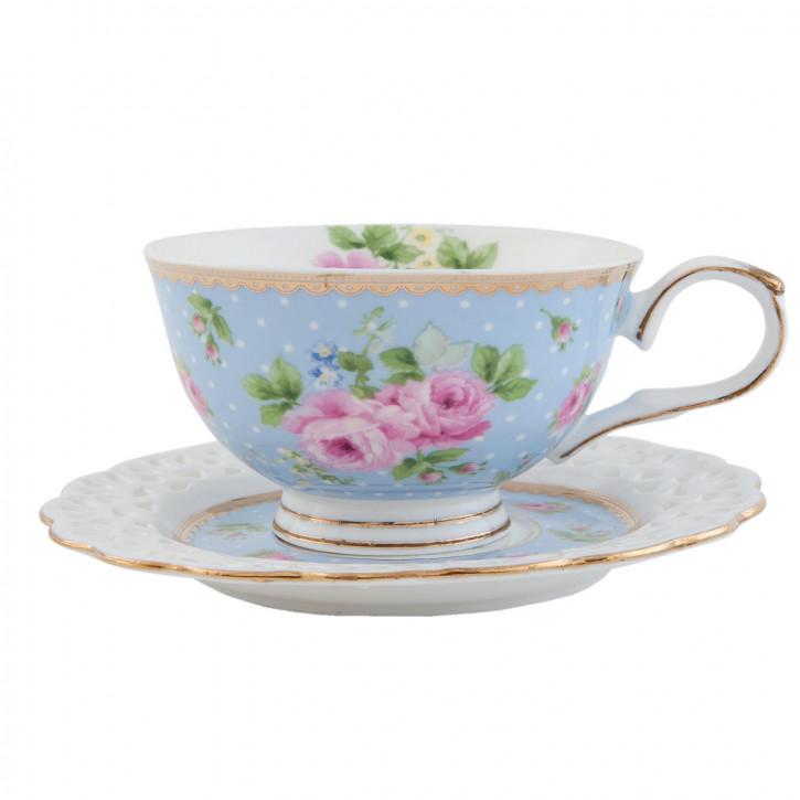 Tasse mit Untertasse hellblau Blume innen ca. 0,2L