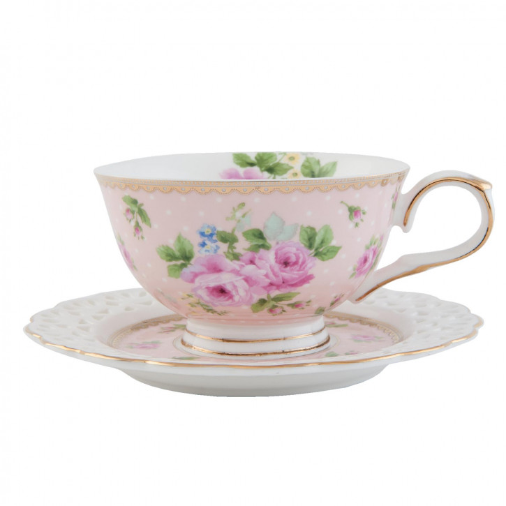 Tasse mit Untertasse rosa Blume innen ca. 0,2L