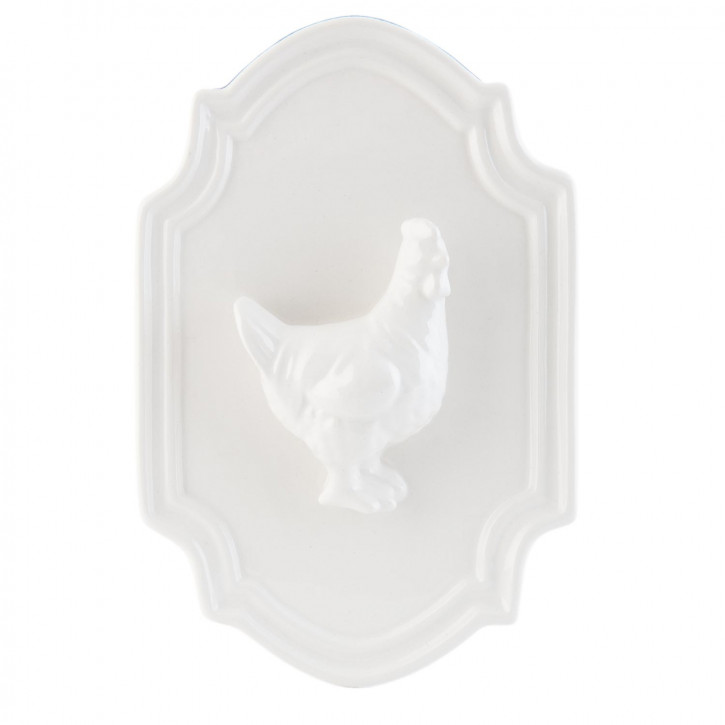 Wandschild Huhn Henne weiß ca. 22 x 15 x 4 cm