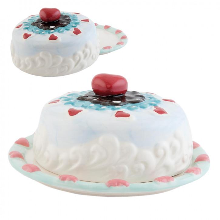 Kuchenplatte mit Abdeckhaube bunt ca. Ø 19 x 9 cm
