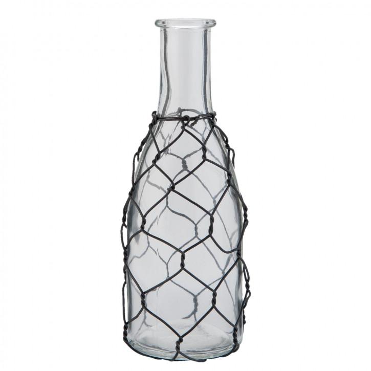 Glasflasche klein transparent ca. Ø 6 x 19 cm