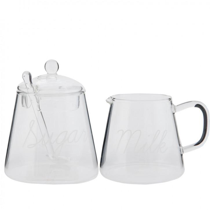 Zuckerdose Zuckertopf & Sahnegießer Milchgießer 2er Set Glas transparent