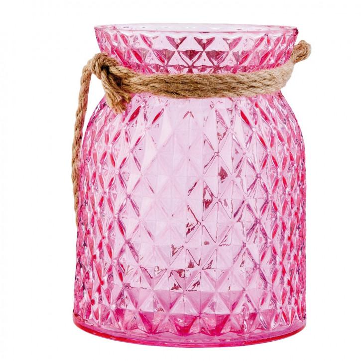 Windlicht rosa ca. Ø 12 x 15 cm