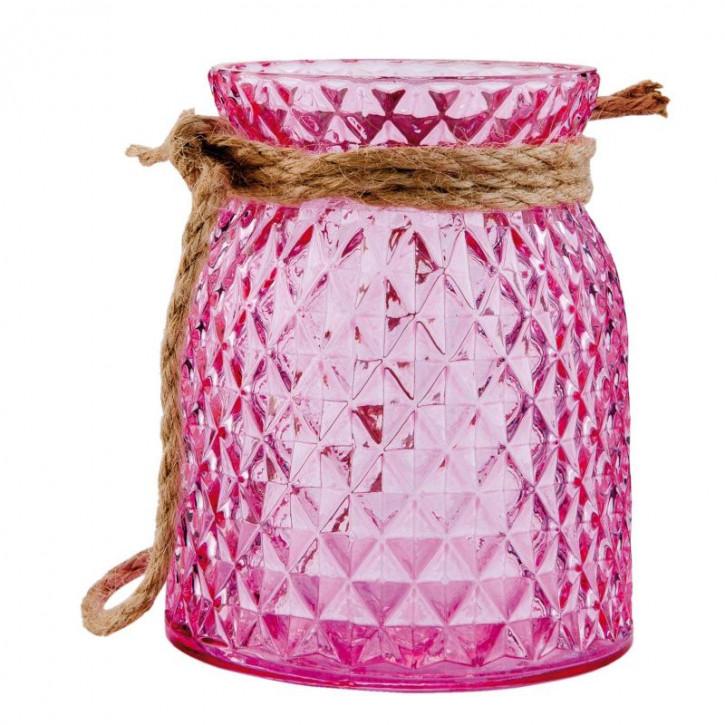 Windlicht rosa ca. Ø 10 x 12 cm