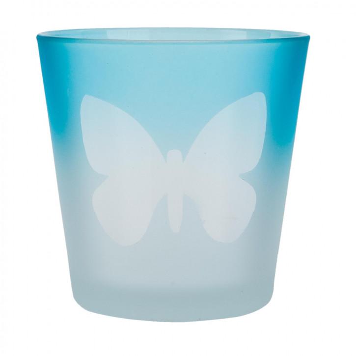 Windlicht blau Schmetterling ca. Ø 7 x 7 cm
