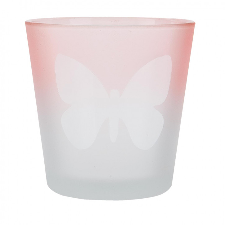 Windlicht rosa Schmetterling ca. Ø 7 x 7 cm
