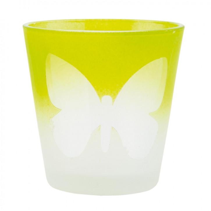 Windlicht grün Schmetterling ca. Ø 6 x 6 cm