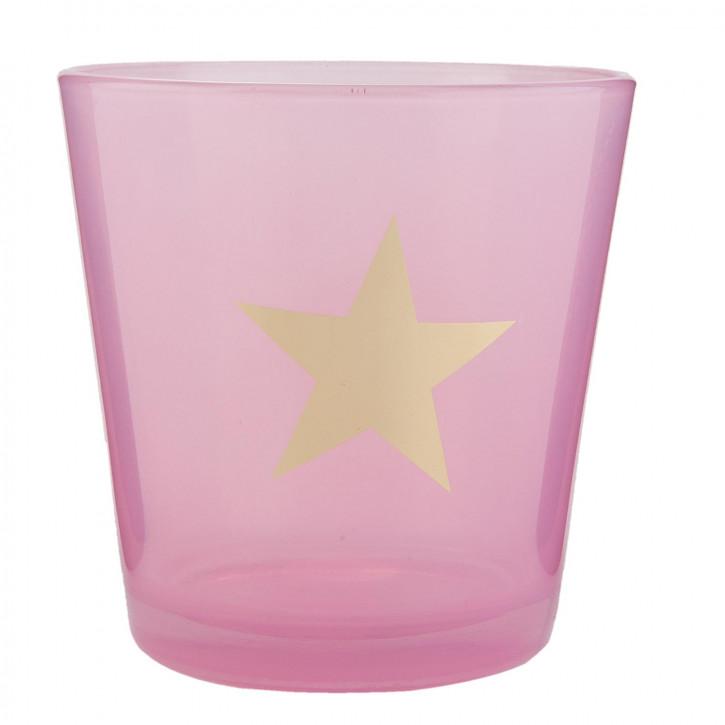 Windlicht rosa Stern ca. Ø 10 x 10 cm