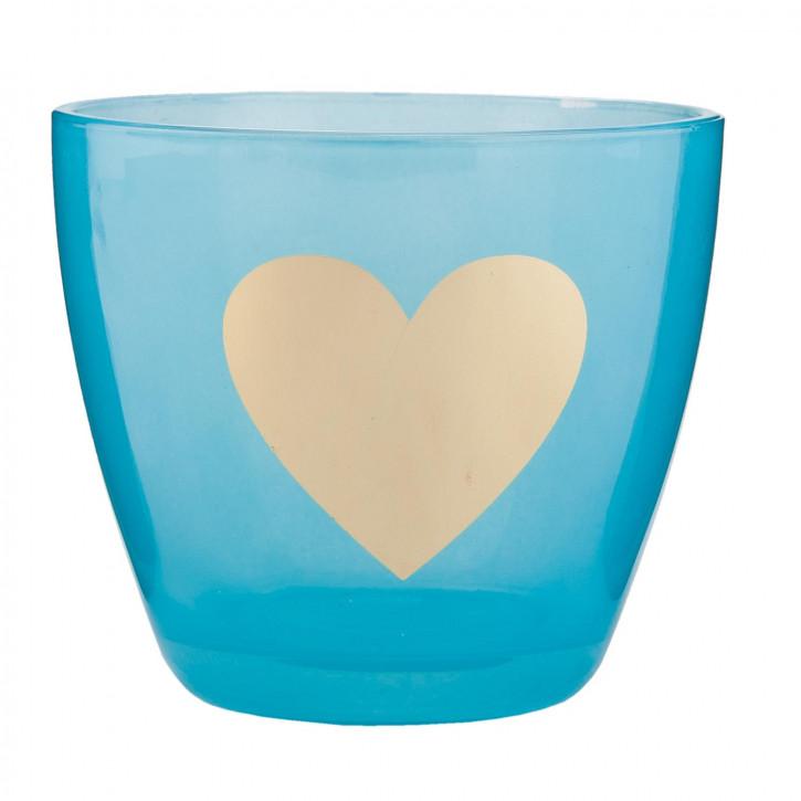 Windlicht blau Herz ca. Ø 9 x 8 cm