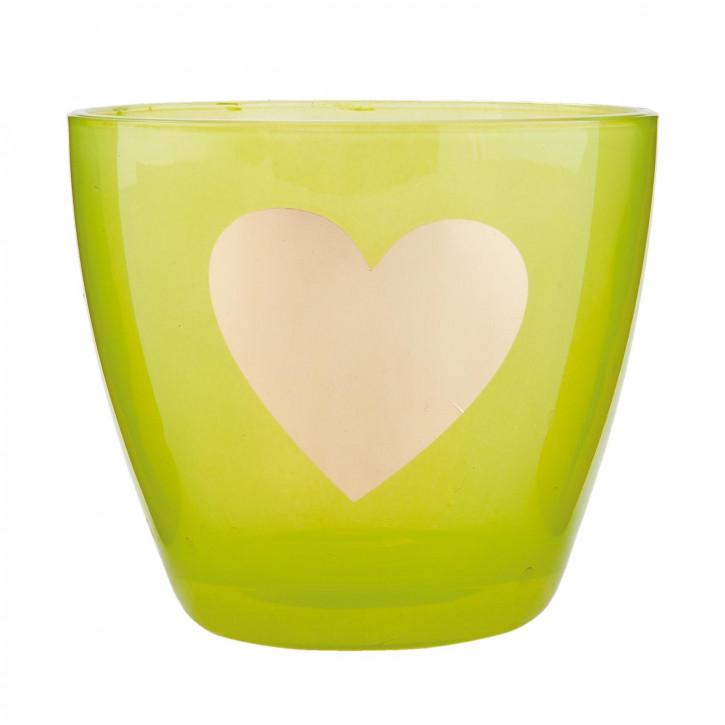 Windlicht grün Herz ca. Ø 9 x 8 cm