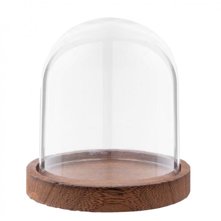 Glasglocke mit Holzboden Ø 10x13 cm