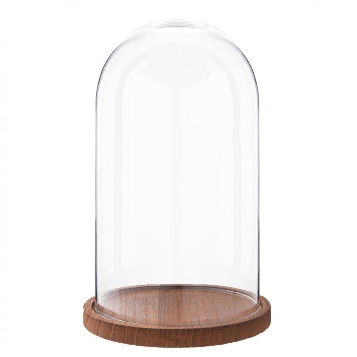 Glasglocke mit Holzboden Ø 16x28 cm