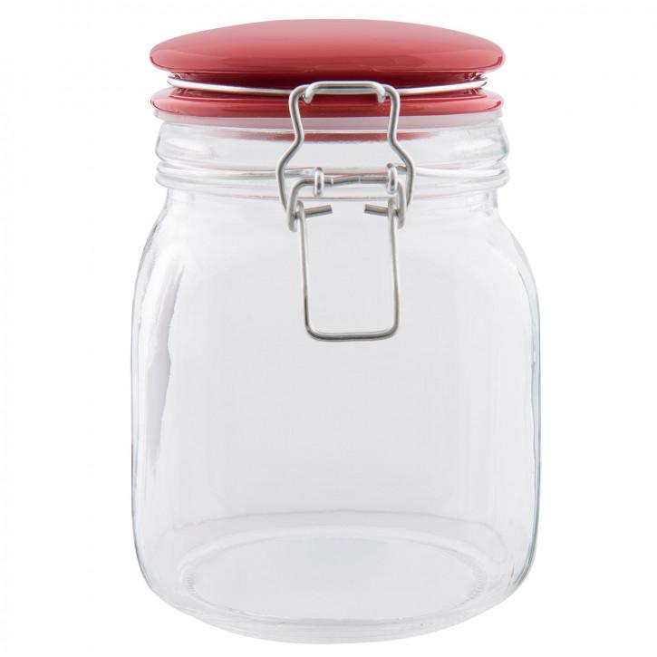 Einweck Glas roter Deckel 13x11x16 cm