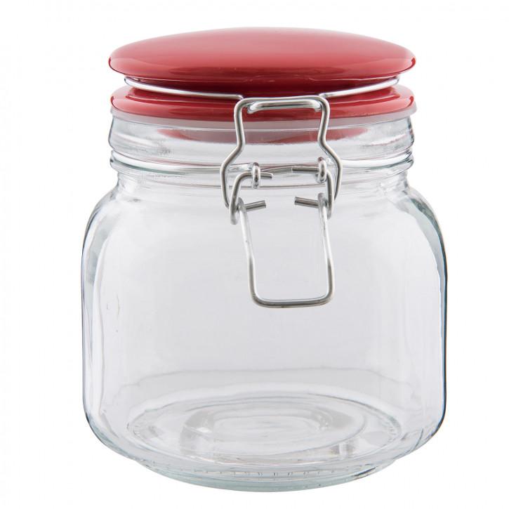 Einweck Glas roter Deckel 13x11x13 cm