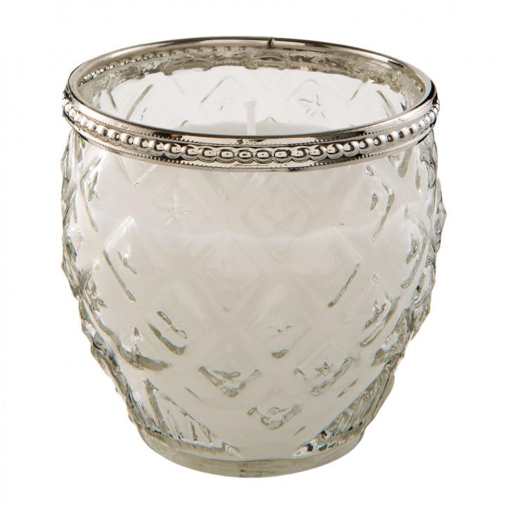 Kerze Teelicht Teelicht Glas in silber Ø 10x10 cm