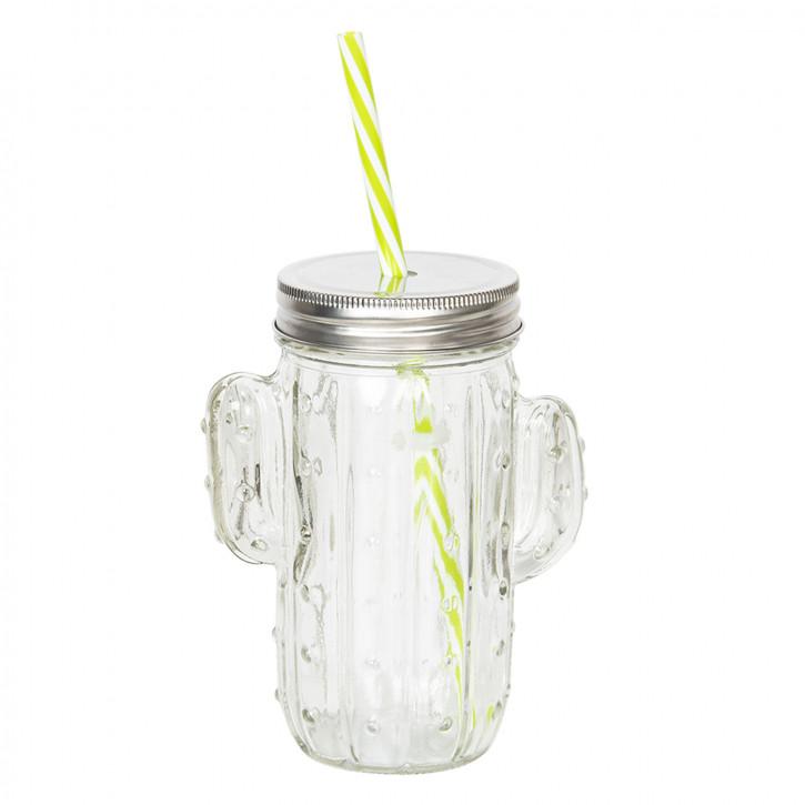 Glas mit Trinkhalm 12x7x14 cm / 0,35L