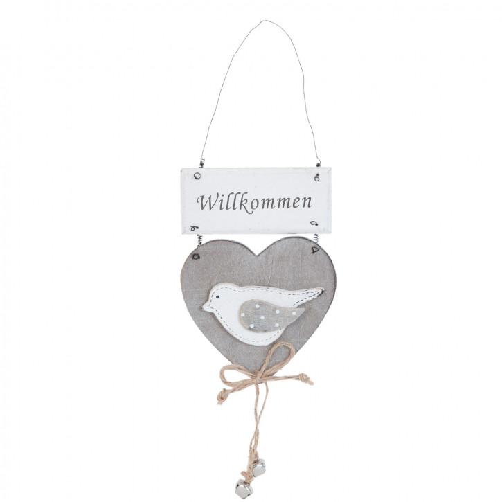 Willkommen Vogel Herz grau ca. 11 x 1 x 32 cm