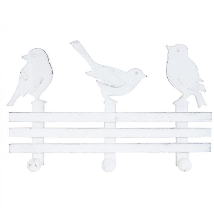 Garderobe mit 3 Haken Vögel weiß ca. 27 x 5 x 16 cm