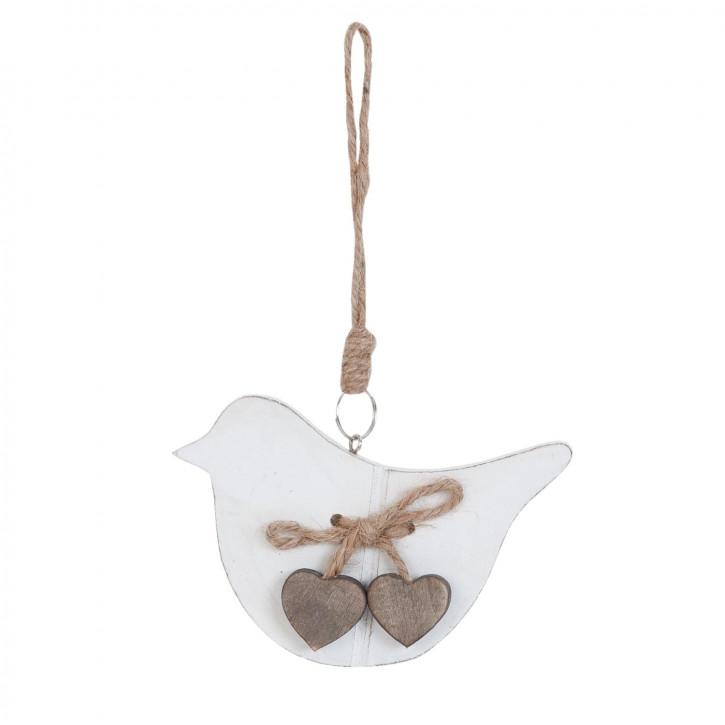 Anhänger Vogel weiß Herzen braun ca. 9 x 1 x 12 cm