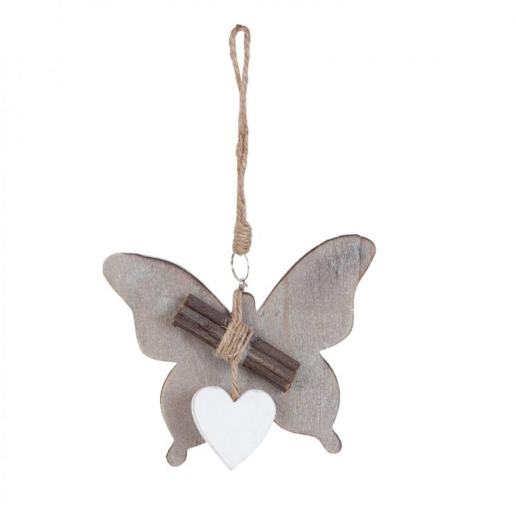 Schmetterling grau Herz weiß ca. 12 x 2 x 14 cm