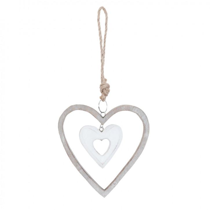 Anhänger Herzen weiß/grau ca. 12 x 2 x 12 cm