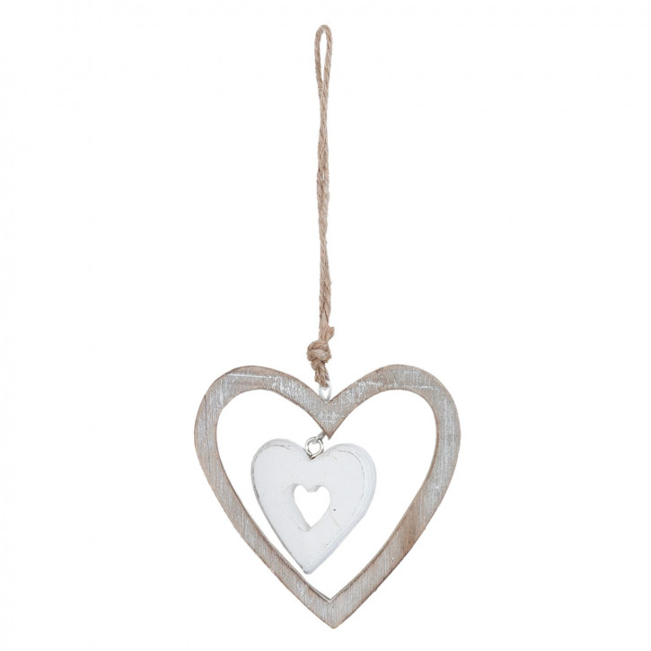 Anhänger Herzen weiß/grau ca. 9 x 2 x 9 cm