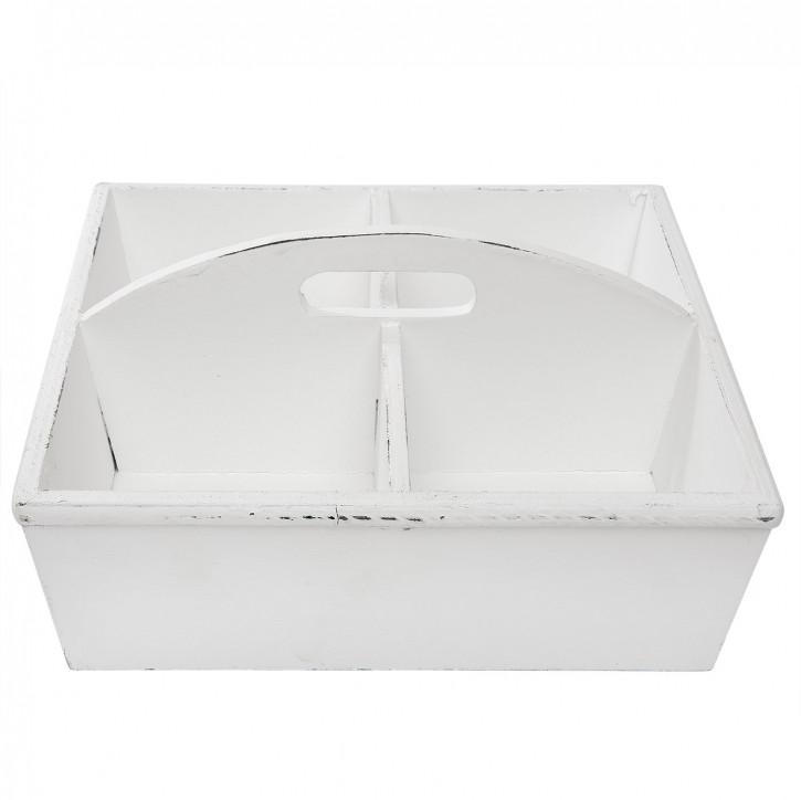 Behälter mit Fächern in weiß 28x28x13 cm