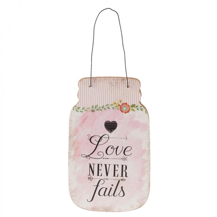 "Textschild ""Love never fails"" rosa 12x1x20 cm"