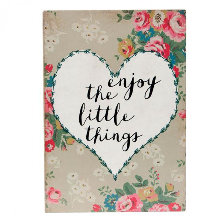 "Textschild ""Enjoy The Little Things"" 9x2x13 cm"