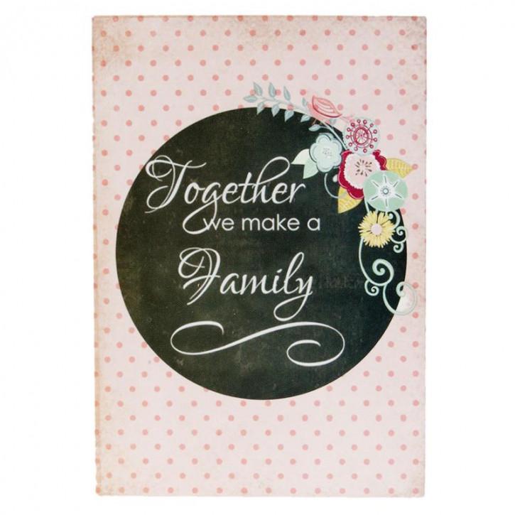 """Textschild """"Family"""" 9x2x13 cm"""