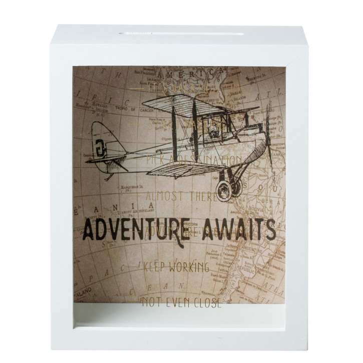 "Spardose ""Adventure Awaits"" 18x8x23cm"