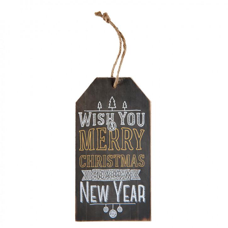 "Wandbild Textschild ""Wish you Merry Christmas"" 8x1x15 cm"
