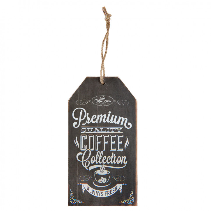 "Wandbild Textschild ""Premium Quality Coffee Collection"" 8x0,5x15 cm"