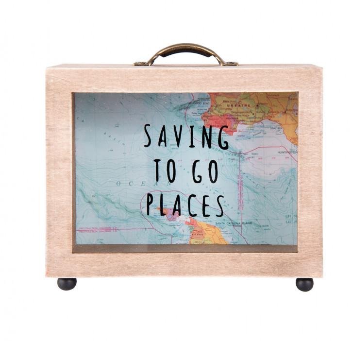 """Spardose """"Saving To Go Places"""" 14x7x18 cm"""